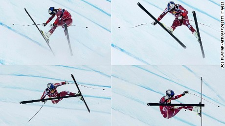 TOPSHOT - (COMBO) This combination of pictures created on January 23, 2016 shows Aksel Lund Svindal of Norway crashing as he competes during the men's downhill of FIS Ski World cup in Kitzbuehel,Austria on January 23, 2016.   / AFP / JOE KLAMAR        (Photo credit should read JOE KLAMAR/AFP/Getty Images)
