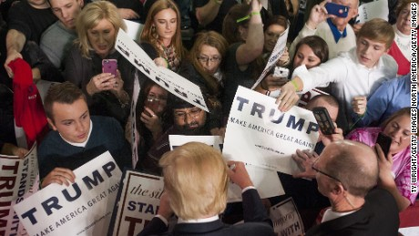 COLUMBUS, OH - NOVEMBER 23:  Republican Presidential candidate Donald Trump shakes hands and signs autographs with his supporters after speaking at a campaign rally at the Greater Columbus Convention Center on November 23, 2015 in Columbus, Ohio. Trump spoke about immigration and Obamacare, among other topics, to around 14,000 supporters at the event.  (Photo by Ty Wright/Getty Images)