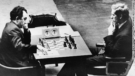 Armenian chess champion Tigran Petrosian, left, playing legendary American grandmaster Bobby Fischer in 1971.