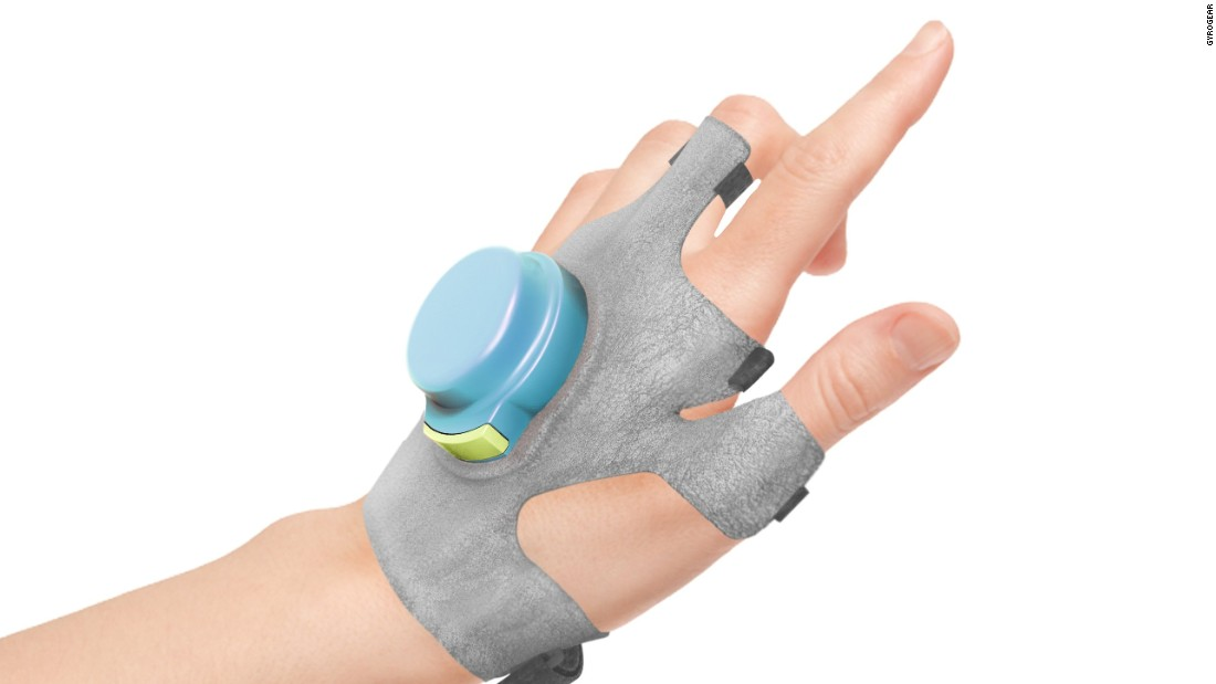The GyroGlove aims to reduce hand tremors for people with Parkinson's disease or Essential Tremor. Pictured, the conceptual design of the glove.