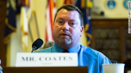 Barry Coates testifies during a Veterans Affairs hearing Wednesday morning, April 9, 2014, on Capitol Hill in Washington, D.C. Mr. Coates is a military veteran who is still dealing with problems from his medical treatment at Dorn VA Medical Center in Columbia, S.C. (Keith Lane/MCT via Getty Images)