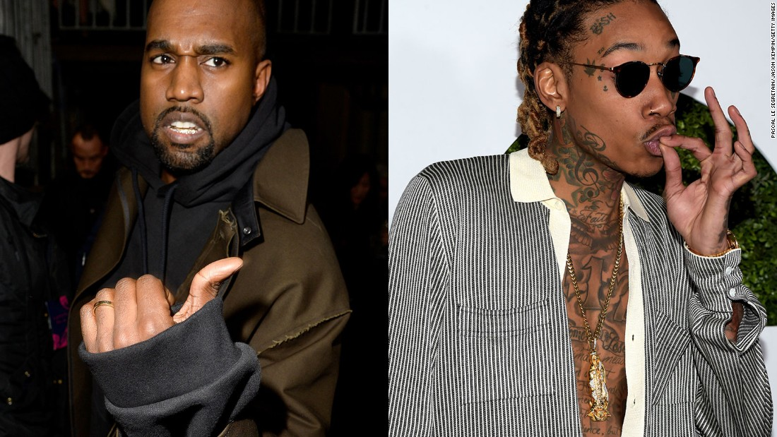 "Kanye West, left, went in on fellow rapper Wiz Khalifa in a series of tweets Wednesday, January 27, after Khalifa was critical of the title of West's new project. West l<a href=""http://money.cnn.com/2016/01/27/media/kanye-west-wiz-khalifa-twitter-rant/"">ater deleted several of the tweets. </a>"