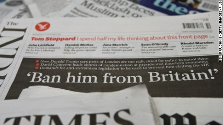 LONDON, ENGLAND - DECEMBER 09:  A general view of the front pages of British national newspapers on December 9, 2015 in London, England. The British press reacted to comments by Republican Presidential candidate, Donald Trump, that the Metropolitan Police are scared to patrol certain Muslim areas of London. An online petition to ban Trump from entering Britain has garnered more than the 100,000 signatures required to force a House of Commons debate.  (Photo by Ben Pruchnie/Getty Images)