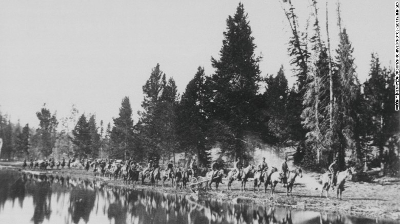 William Henry Jackson's pictures of Ferdinand V. Hayden's expedition to Yellowstone publicized the region's beauty to a wide audience. this picture was taken at Mirror Lake en route to the East Fork of the Yellowstone River on August 24, 1871.