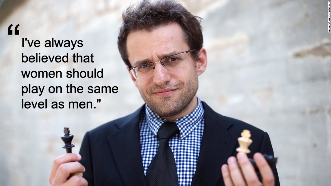 """Women are generally weaker than men at chess, because they are told from a very young age: 'Oh honey, you lost, you're a girl, it's OK.' So it's also a psychological thing,"" said Aronian.<br />The chess champion believes women should play with men.<br />""When you limit women to playing against each other, that creates a  disbalance. Every woman who stopped playing against women, and started against men, became a much stronger player."""