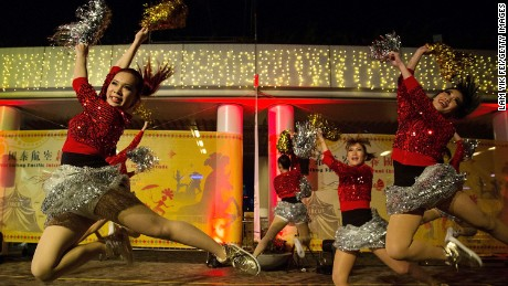 Performers dance at the 2014 Cathay Pacific International Chinese New Year Night Parade on January 31, 2014