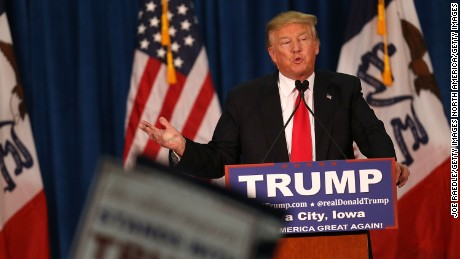 IOWA CITY, IA - JANUARY 26:  Republican presidential candidate Donald Trump speaks during a campaign event at the University of Iowa on January 26, 2016 in Iowa City, Iowa. (Photo by Joe Raedle/Getty Images)