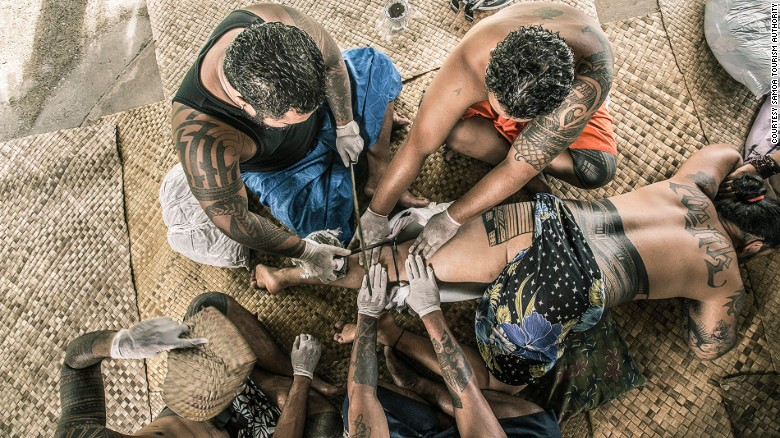 Traditional tattooing is on display at the Samoa Cultural Village.