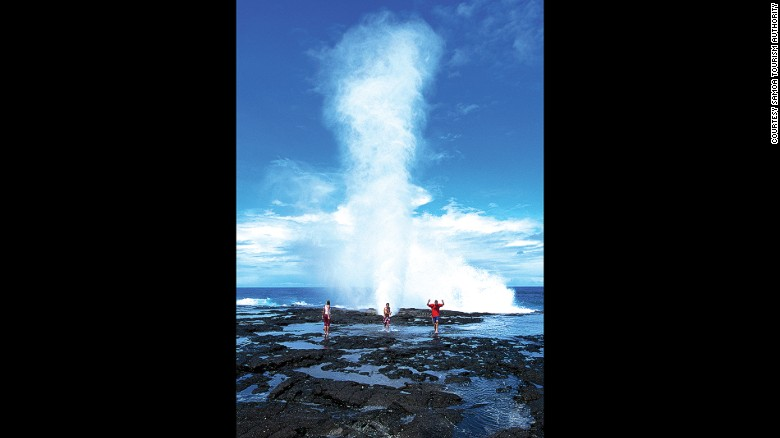 Water from the Alofaaga Blowholes can fly hundreds of feet in the air.