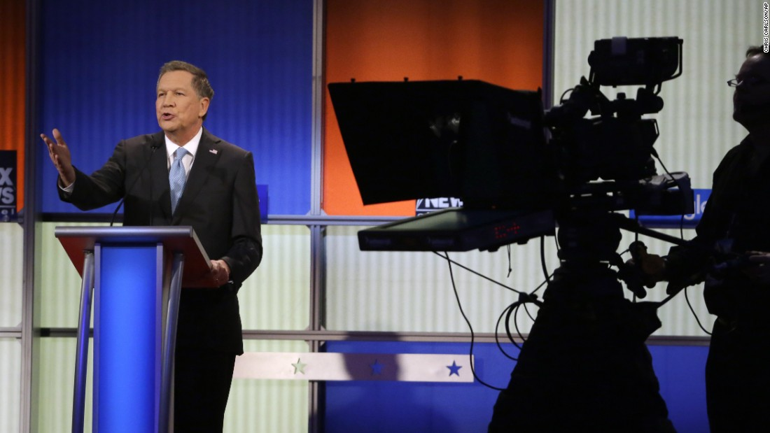 Kasich argues a point during the debate.