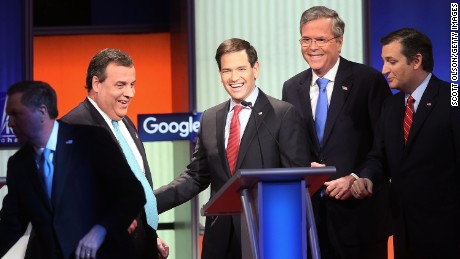 Republican presidential candidates (L-R) New Jersey Governor Chris Christie, Sen. Marco Rubio (R-FL), Jeb Bush and Sen. Ted Cruz (R-TX) after the Fox News - Google GOP Debate January 28, 2016 at the Iowa Events Center in Des Moines, Iowa.
