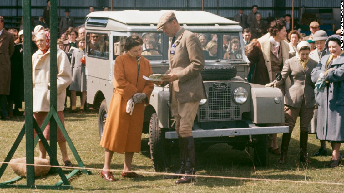 The Queen has also been photographed with the Defender many times. Here she is at the Badminton Horse Trials in 1956.