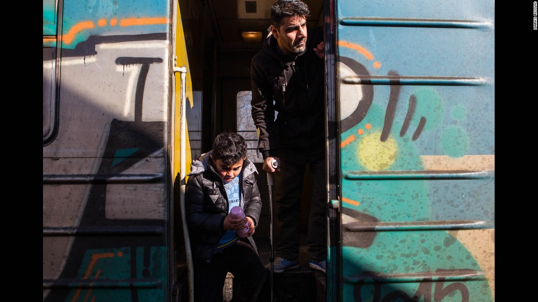 Hussein and his family, from Iraq, board a train in Presevo that will take them to Croatia. They fled because, Hussein says, he feels there is no love in his home country anymore. He hopes to find love in Germany, where he is headed.