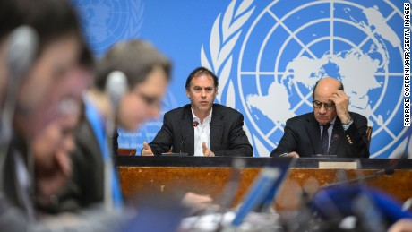 UN High Commissioner for Human Rights spokesperson Rupert Colville (L) and Interim Director of the United Nations Information Service in Geneva Ahmad Fawzi brief the press on new claims of child abuse by foreign troops in Africa on January 29, 2016 in Geneva.  UN rights chief expressed alarm at new allegations of child abuse by foreign peacekeepers in the troubled Central African Republic, including cases involving European Union troops. / AFP / FABRICE COFFRINIFABRICE COFFRINI/AFP/Getty Images