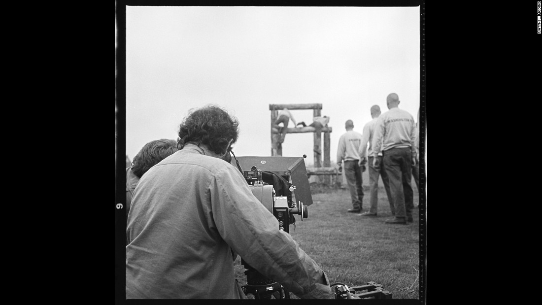 Kubrick operates his Arriflex camera for a shot of Marines training at Bassingbourn Airfield in 1986.