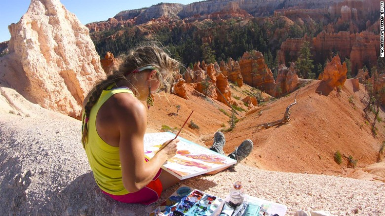 When she's not capturing Utah's Bryce Canyon's beauty in paint, fellow adventurer Rachel Pohl also participates in action sequences.