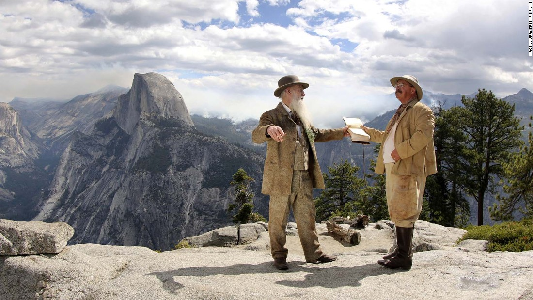 """National Parks Adventure"" features a reenactment of a momentous Yosemite meeting between pioneering environmentalist John Muir and President Teddy Roosevelt."