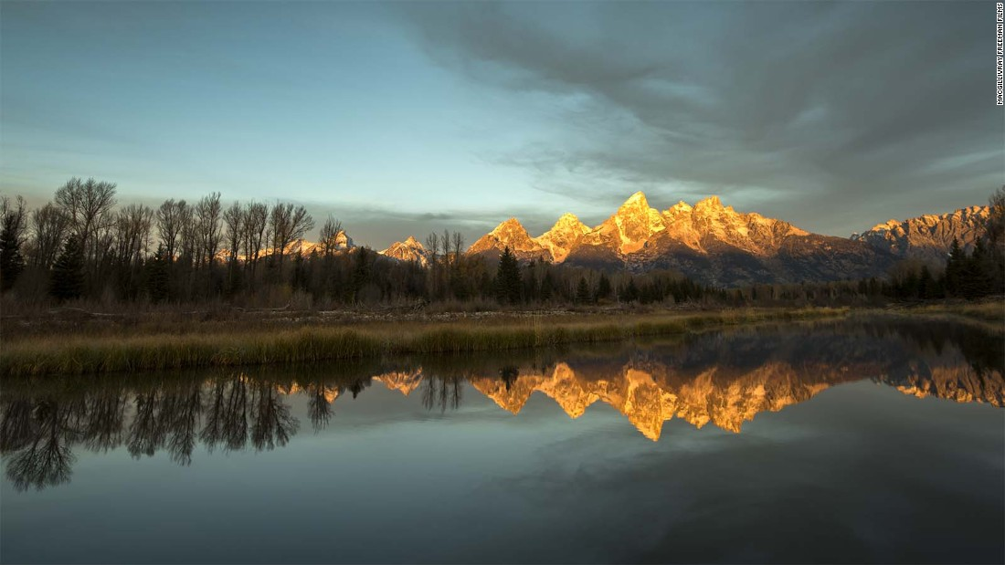 The Teton Range in Grand Teton National Park rises 7,000 feet above the valley of Jackson Hole, Wyoming.