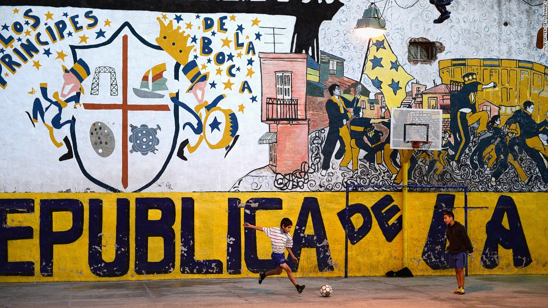 Soccer is the country's favorite sport, and there's often an impromptu game to watch -- like this in a yard in La Boca. Argentina last won the World Cup in 1986, thanks in large part to legendary Argentinian footballer Maradona.