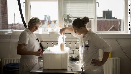 Denmark, Aarhus, 8 September 2015The laboratory technicians Dorte Jensen (left) and Marianne B. Rohde (right). Cryos sperm bank in Aarhus, Denmark. Danemark, Aarhus, 8 septembre 2015Les techniciens de laboratoire Dorte Jensen (Gauche) et Marianne B. Rohde (droite). Bande de sperme Cryos ‡ Aarhus au Danemark.Laerke Posselt / Agence VU