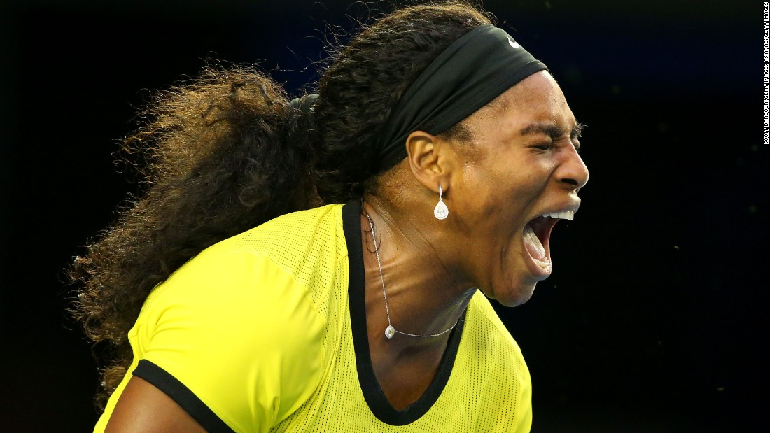 Williams tries her best to pump herself up as a 22nd grand slam title slips away from her grasp.