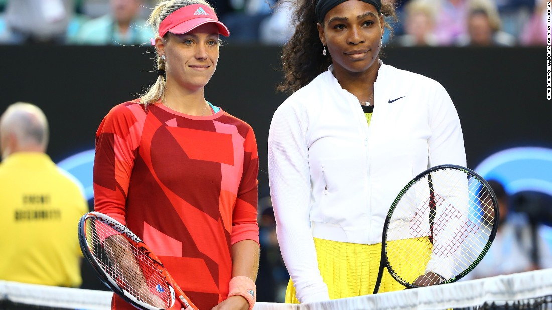 Kerber and Williams pose before the start of the final, the first grand slam final for eventual winner Kerber.