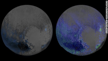 This image made in infrared light shows water ice is abundant on Pluto's surface. The image was created using two scans of Pluto made by the New Horizons spacecraft on July 14, 2015, when the probe was about 67,000 miles (108,000 kilometers) above Pluto.