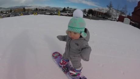 See this toddler's snowboard skills