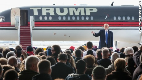 Donald Trump speaks at a rally at the airport on January 30, 2016 in Dubuque, Iowa.