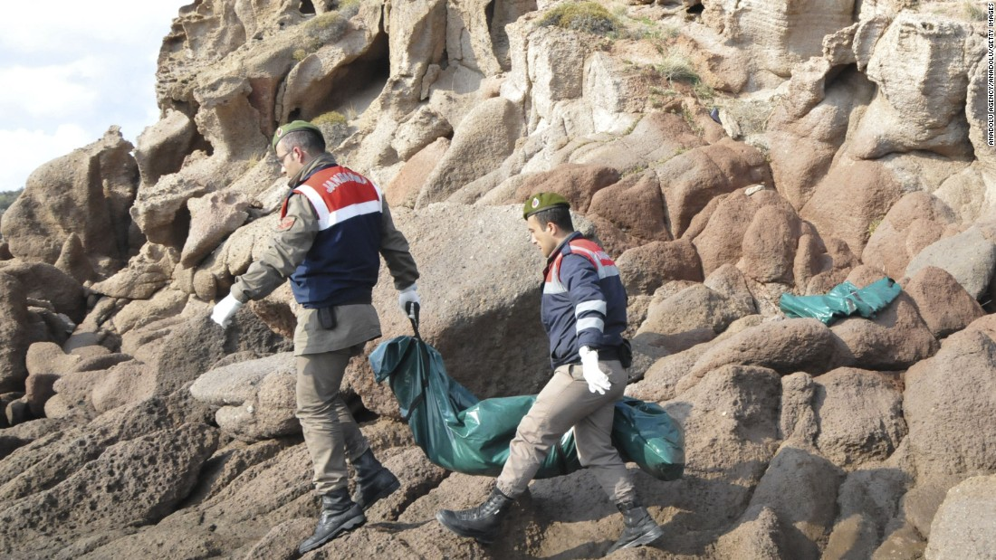 Members of the Turkish military work to recover the bodies.  Authorities managed to save 75 people on the same boat, which contained people from Myanmar, Afghanistan and Syria.