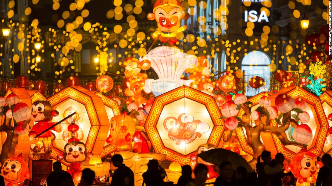People view monkey-themed lanterns in Macao, China, on Friday, January 29.