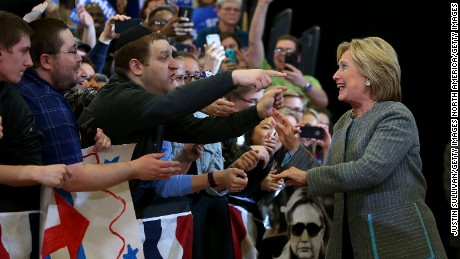 """DES MOINES, IA - JANUARY 31:  Democratic presidential candidate, former Secretary of State Hillary Clinton greets supporters during a """"get out to caucus"""" event at Abraham Lincoln High School on January 31, 2016 in Des Moines, Iowa.  (Photo by Justin Sullivan/Getty Images)"""