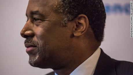 Republican presidential candidate Ben Carson speaks at a campaign event at Fireside Pub and Steak House on January 31, 2016 in Manchester, Iowa.