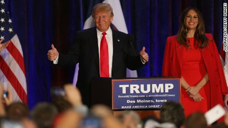 DES MOINES, IA - FEBRUARY 01:  Republican presidential candidate Donald Trump stands with his wife Melania Trump as he concedes defeat in the Iowa Caucus during his President Caucus Watch Party at the Sheraton Hotel on February 1, 2016 in Des Moines, Iowa. Trump was finishing second in late polling to U.S. Sen. Ted Cruz (R-TX) and just ahead of Sen. Marco Rubio (R-FL).  (Photo by Joe Raedle/Getty Images)