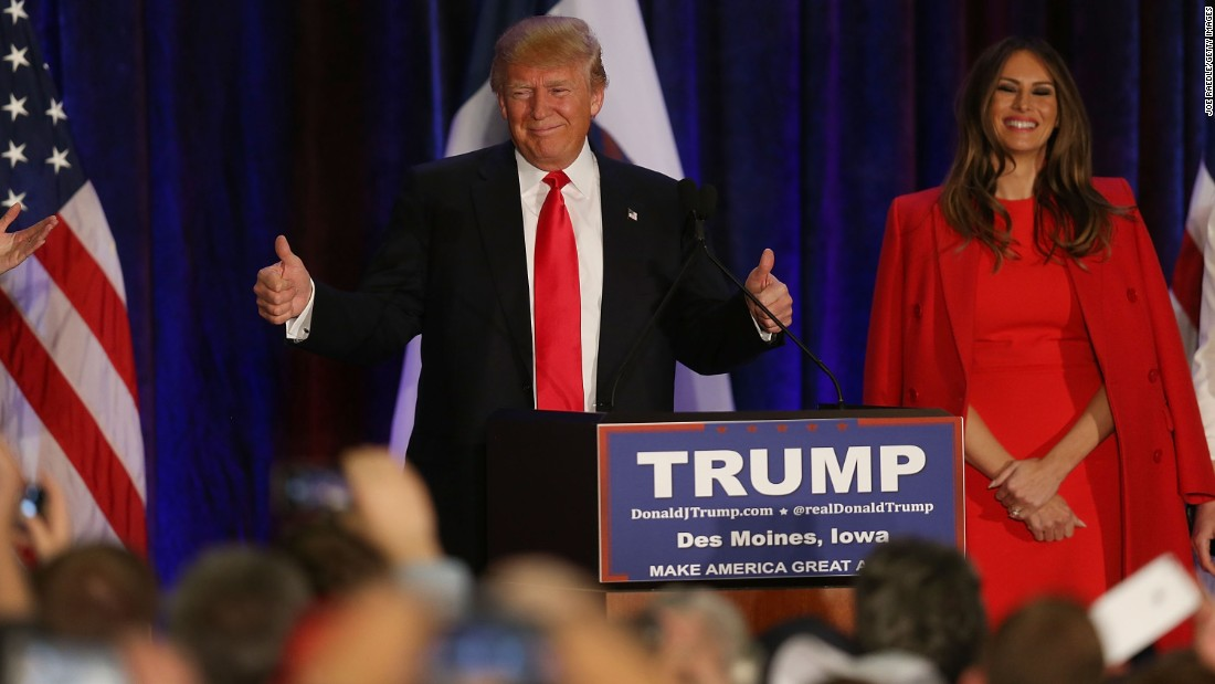 """Trump gives supporters the thumbs-up as he concedes defeat in Des Moines. Trump vowed to win next week's New Hampshire primary. """"We will go on to get the Republican nomination, and we will go on to easily beat Hillary or Bernie,"""" Trump said. """"We finished second, and I have to say I am just honored."""""""