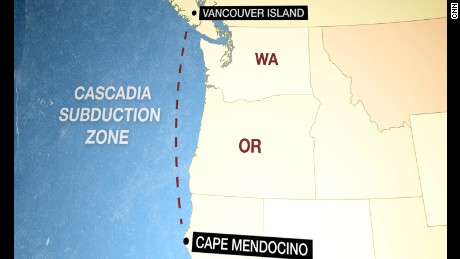 The fault line called the Cascadia subduction zone lies in coastal waters spanning 700 miles.