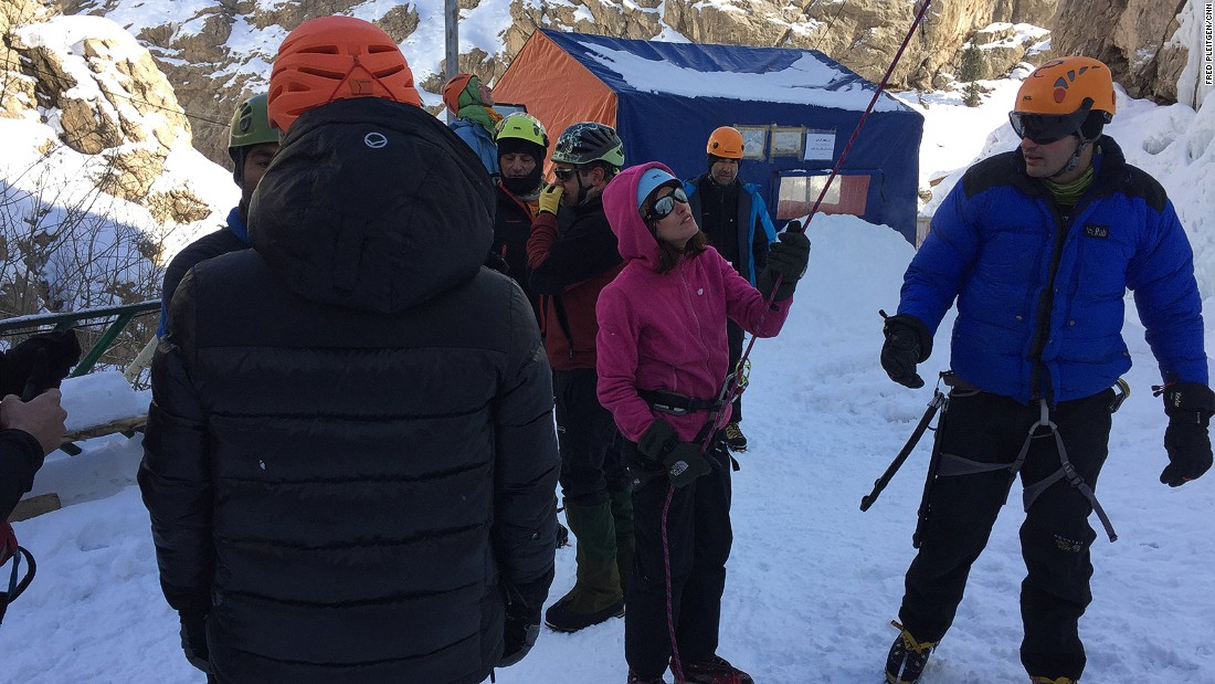 It's a difficult and challenging sport, but also one, at least at the Meygoon ice climbing school, that's practiced by men and women alike.