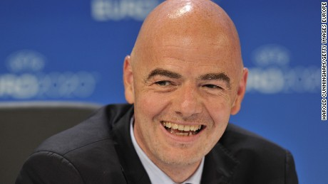 GENEVA, SWITZERLAND - SEPTEMBER 19:  UEFA General Secretary Gianni Infantino speaks during a press conference following the UEFA EURO 2020 Host Cities & Final announcement ceremony held at Espace Hippomene on September 19, 2014 in Geneva, Switzerland.  (Photo by Harold Cunningham/Getty Images for UEFA)