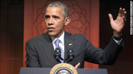 President Barack Obama speaks to members of the Muslim-American community at the Islamic Society of Baltimore, Wednesday, Feb. 3, 2016, in Baltimore, Md. Obama is making his first visit to a U.S. mosque at a time Muslim-Americans say they're confronting increasing levels of bias in speech and deeds.(AP Photo/Pablo Martinez Monsivais)