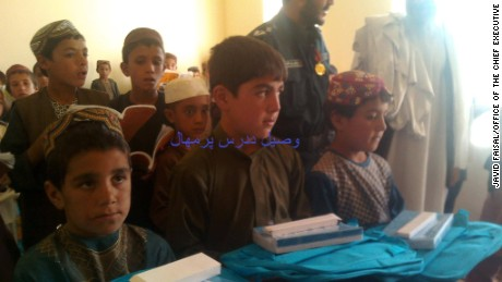 Wasil, here with other children in 2015, had recently returned to school.