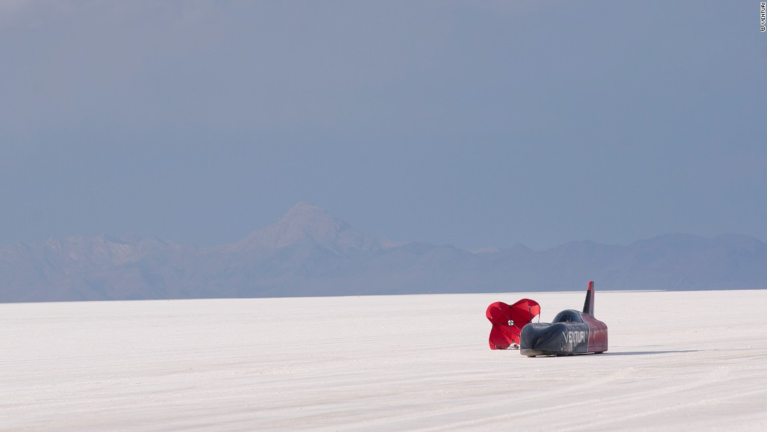 """A parachute is required to stop the Venturi VBB-3. """"The road is prepared, but you always have some bumps,"""" says Biscaye. """"The driver has to go every morning -- sometimes twice, three times a day -- and see the track, and see where he needs to go to take the best trajectory. It seems very simple, but it's incredibly tricky."""""""