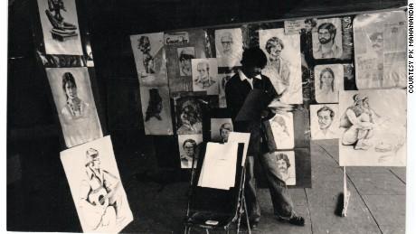 Mahanandia's portrait stall.