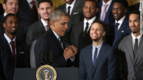 "President Barack Obama jokes while demonstrating ""clowning"" when talking about Stephen Curry (3rd R), the 2015 National Basketball Association MVP, during an event in the East Room on February 4, 2016 in Washington, DC."