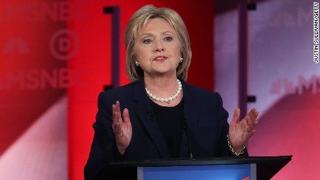 Hillary Clinton speaks at the MSNBC Democratic Candidates Debate at the University of New Hampshire on February 4, 2016, in Durham, New Hampshire.