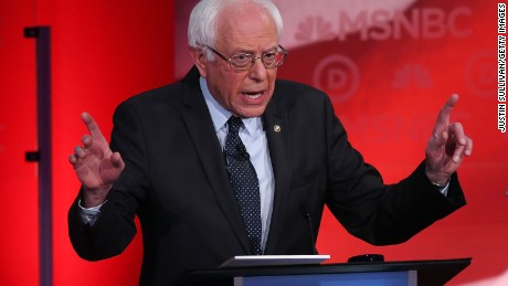Sen. Bernie Sanders (I-VT) speaks as he debates with Democratic presidential candidates former Secretary of State Hillary Clinton during their MSNBC Democratic Candidates Debate at the University of New Hampshire on February 4, 2016 in Durham, New Hampshire.