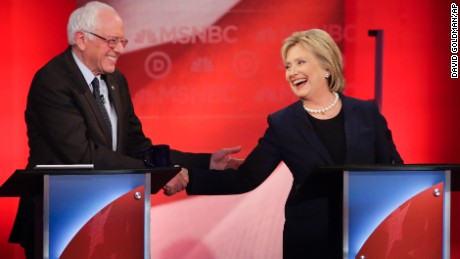 Democratic presidential candidate, Sen. Bernie Sanders, I-Vt,  and Democratic presidential candidate, Hillary Clinton shake hands during a Democratic presidential primary debate hosted by MSNBC at the University of New Hampshire Thursday, Feb. 4, 2016, in Durham, N.H. (AP Photo/David Goldman)
