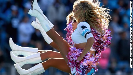 CHARLOTTE, NC - OCTOBER 05:  Cheerleaders of the Carolina Panthers in action against the Chicago Bears at Bank of America Stadium on October 5, 2014 in Charlotte, North Carolina.  (Photo by Streeter Lecka/Getty Images)
