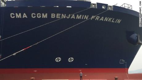 Where's Matt? Matt Rivers beside the Benjamin Franklin mega-ship.