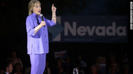 LAS VEGAS, NV - OCTOBER 14:  Democratic U.S. presidential hopeful Hillary Clinton speaks to supporters during a campaign rally October 14, 2015 in Las Vegas, Nevada. Clinton continued to campaign in the area one day after the first Democratic presidential debate.  (Photo by Alex Wong/Getty Images)