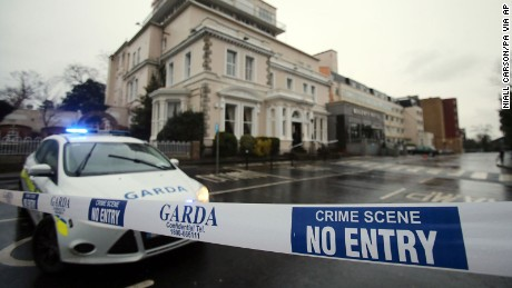 Police tape blocks access to the Regency Hotel in Dublin, Ireland, after one man died and two others were injured following a shooting incident at the hotel on Friday, February 5.